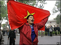 A Vietnamese protester demonstrates against a Chinese move to exert control over two disputed archipelagos
