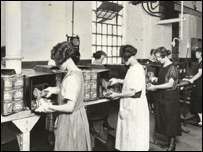 Workers on the production line at Plaistow Wharf