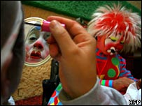 Preparing for the annual International Convention of Clowns in Mexico City