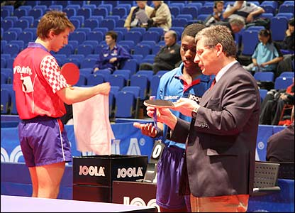 Darius Knight has his table tennis bat examined