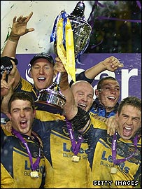 Leeds celebrate their World Club Challenge victory