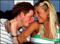 Prince Harry and girlfriend Chelsy Davy photographed at the cricket World Cup in 2007