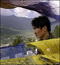 Prayer flags above Thimpu