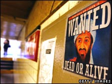 Poster showing Osama Bin Laden