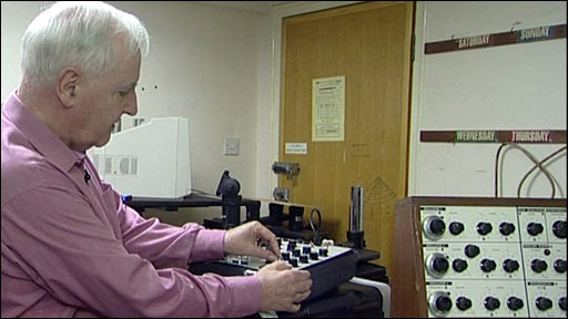 Dick Mills using a synthesiser
