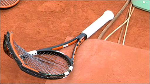 Fernando Gonzalez's broken racquet