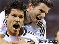 Michael Ballack celebrates a goal for Euro 2008 finalists Germany
