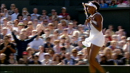 Venus Williams celebrates winning her fifth Wimbledon title