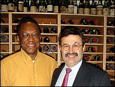 Alvin Hall with Douglas Barzelay in his temperature-controlled wine cellar