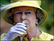 Queen Elizabeth II drinking wine in Australia