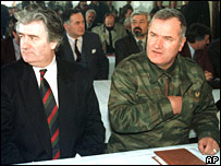 Undated photo of Bosnian Serb leader Radovan Karadzic, left, and Gen Ratko Mladic