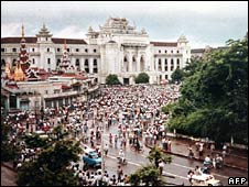 Anti-government protesters in Rangoon on 6 August 1988