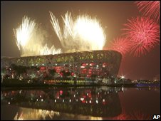 Fireworks at the Bird's Nest stadium
