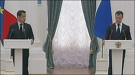 rench President Nicolas Sarkozy and Russian President Dmitry Medvedev