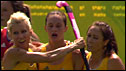 Australia's Madonna Blyth is congratulated by her team-mates