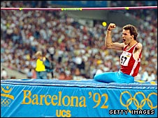 A high jump competitor at the 1992 Paralympics
