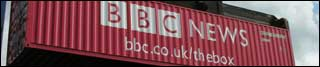 Shipping container branded BBC News