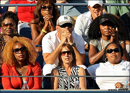 Serena Williams' family and friends gather to watch her take on Dinara Safina in the second women's semi-final