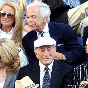 Tony Bennett (bottom) and Ralph Lauren watch the US Open final