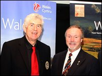 Wales' First Minister Rhodri Morgan and Celtic Manor resort owner Sir Terry Matthews are in Valhalla
