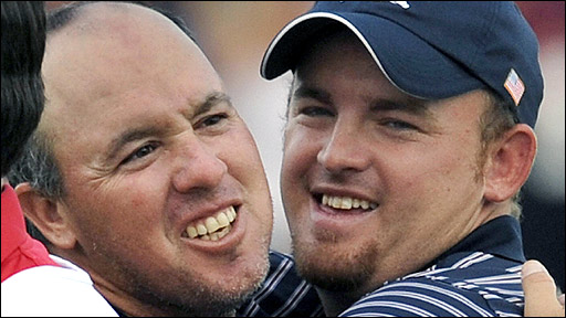 Boo Weekley and JB Holmes celebrate their win over Lee Westwood and Soren Hansen