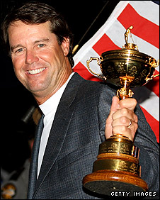 US skipper Paul Azinger celebrates with the Ryder Cup trophy