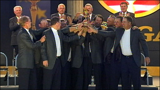 The US team celebrate winning the Ryder Cup