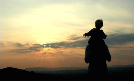 A lovely shot of Dafydd Jones' daughter on his wife's shoulders after a walk up Caerphilly mountain.