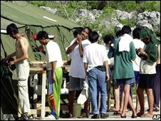 File photo of asylum seekers on the island of Nauru