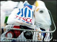 Trolley with tesco bag