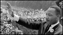 Martin Luther King waves to supporters 28 August 1963, Washington DC
