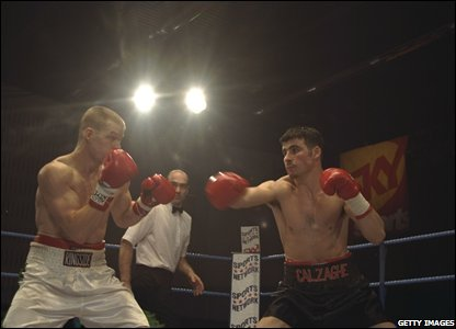 Joe Calzaghe clashes with American Tyler Hughes in March 1997