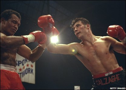 Joe Calzaghe in a tussle with Luciano Torres