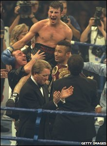 Joe Calzaghe is held aloft after winning his world title in October 1887