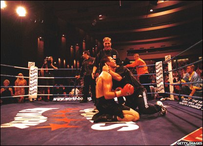 Calzaghe celebrates beating Omar Sheika