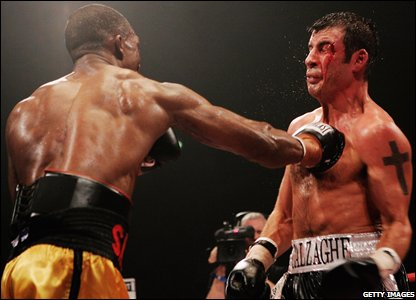 Sakio Bika lands a right hook on Calzaghe