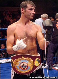 Calzaghe celebrates his win over Evans Ashira