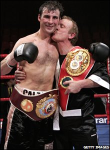 Joe and Enzo Calzaghe celebrate beating Jeff Lacy