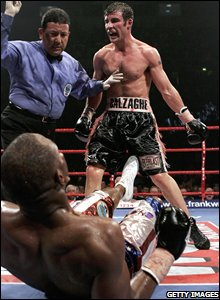 Lacy is knocked down by Calzaghe