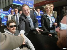 John Key, leader of New Zealand's opposition National Party, campaigns in Auckland on 7 November