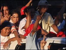 Opposition supporters in Nicaragua on 11 November