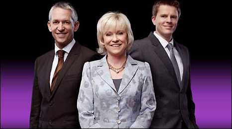 Gary Lineker, Sue Barker and Jake Humphrey