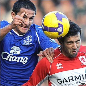 Tim Cahill, Everton; Julio Arca, Middlesbrough