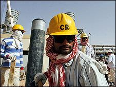 Saudi oil field workers