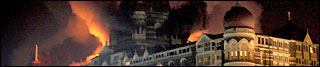 Taj Mahal palace hotel on fire