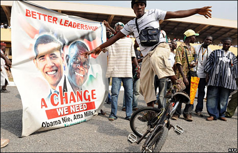 A rider entertains supporters of the National Democratic Congress in Ghana