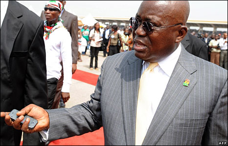 The defeated ruling party's presidential candidate Nana Akufo-Addo arrives for the inauguration