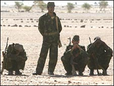 Polisario Front members near the dividing line between Morocco and the Western Sahara in October 2005