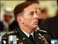 Gen David Petraeus, pictured on 13 December 2008 