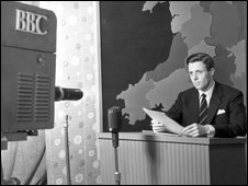 Newsreader Michael Aspel in 1957